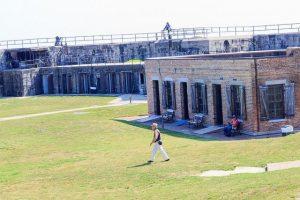 Man walking in fort